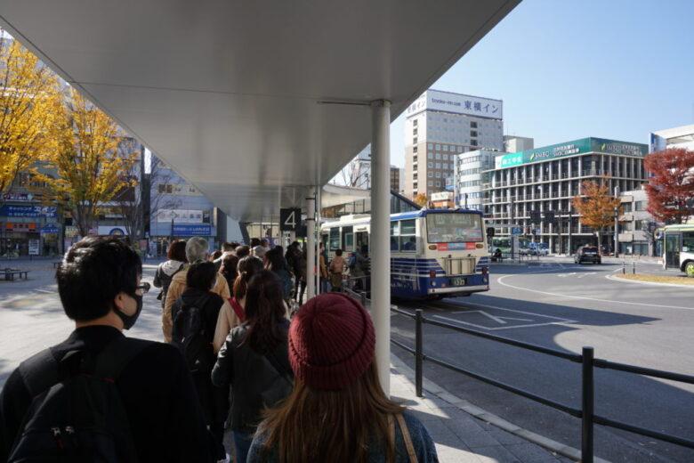 甲府駅南口から、昇仙峡方面へのバス